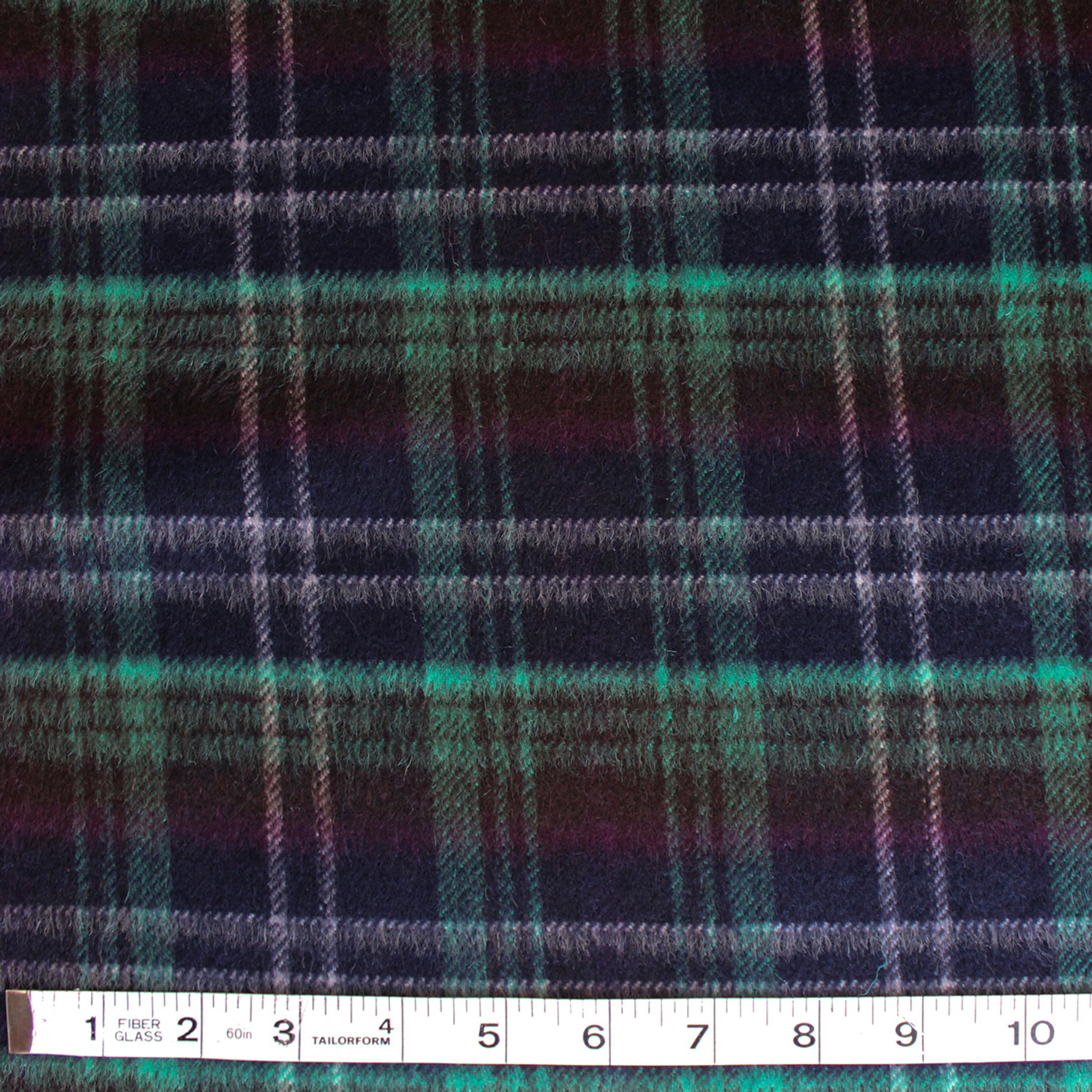 Double Faced Wool Plaid Coating Navy Jade 1 2 Meter