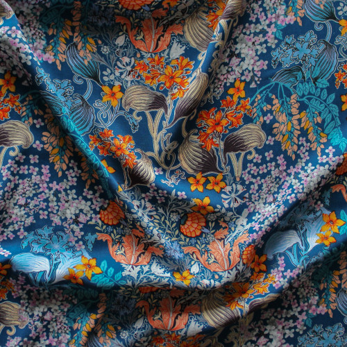 Japanese Floral Rayon Voile - Blue/Orange | Blackbird Fabrics