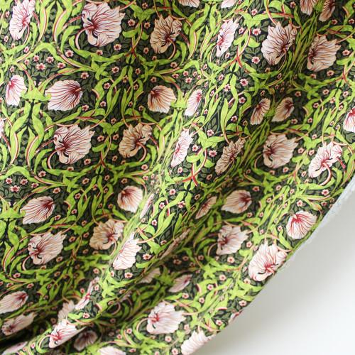 Tapestry Floral Viscose Poplin - Green/Blush   Blackbird Fabrics