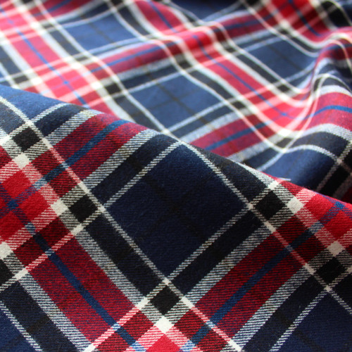 Plaid Japanese Cotton Flannel - Navy/Red/White/Blue | Blackbird Fabrics