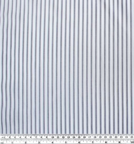 Striped Japanese Cotton Shirting - White/Grey Blue | Blackbird Fabrics
