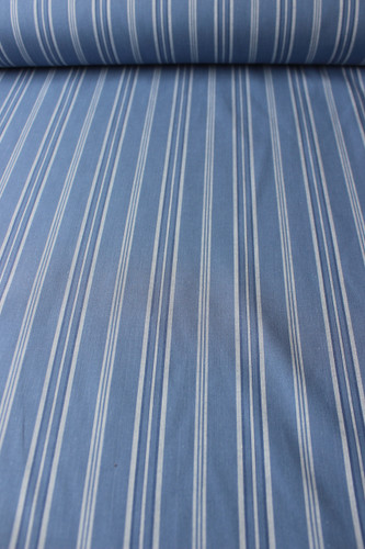 Striped Japanese Cotton Shirting - Denim Blue/White | Blackbird Fabrics
