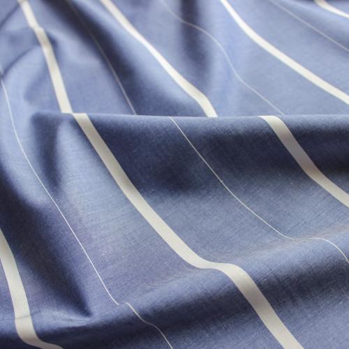 Striped Japanese Cotton Chambray Shirting - Blue/Cream | Blackbird Fabrics