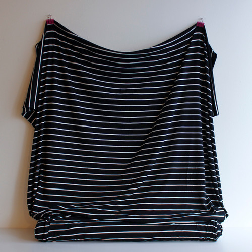 Nautical Bamboo Stripe Knit - Black/Cream - 1/2 meter