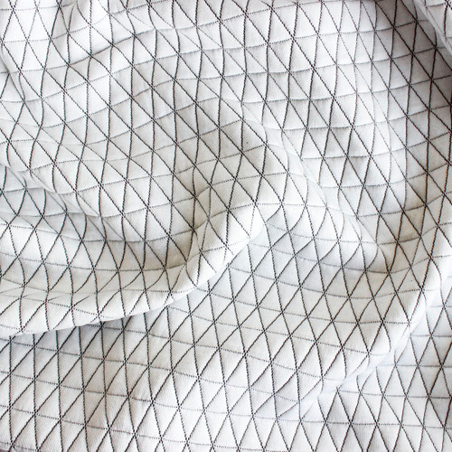 Triangles Quilted Knit - Ecru with Black Stitching - 1/2 meter