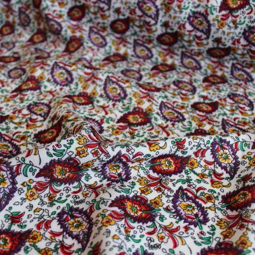 Paisley Rayon Challis - White/Multicolour - 1/2 meter