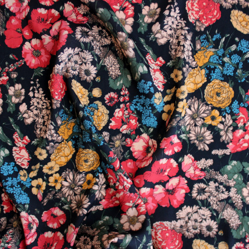 Seventies Floral Viscose Crepe - Black/Multicolour | Blackbird Fabrics