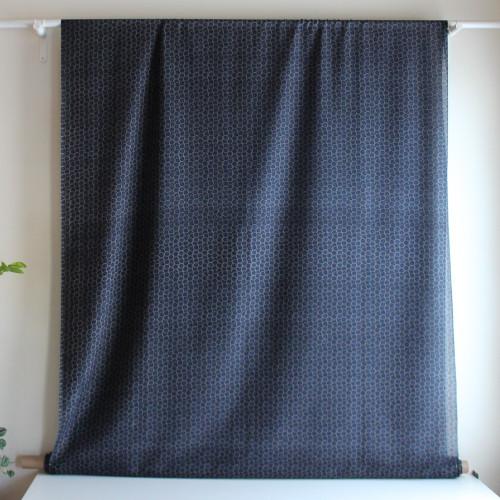 Circles Cotton & Silk Voile - Navy/Taupe   Blackbird Fabrics