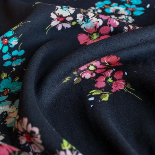 Open Floral Viscose Crepe - Black   Blackbird Fabrics