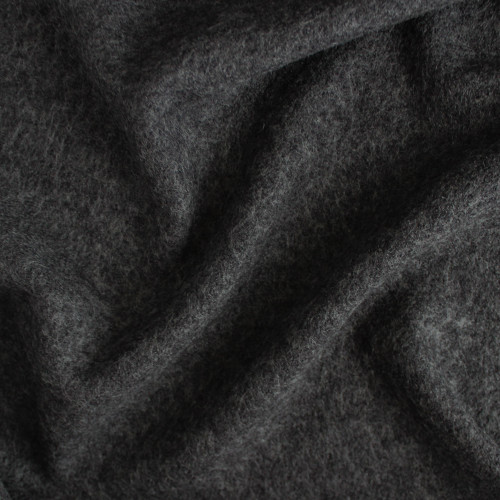 Boiled Wool & Viscose - Heathered Charcoal  | Blackbird Fabrics