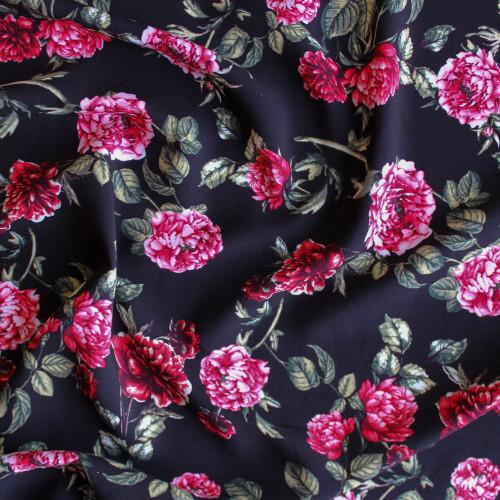 Damask Rose Viscose Poplin - Black/Pink | Blackbird Fabrics