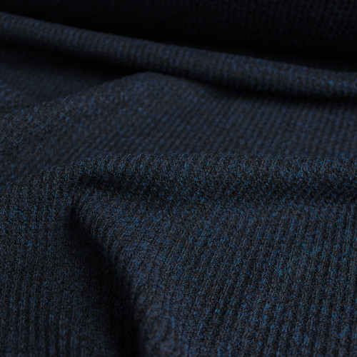 Waffle Sweater Knit - Heather Navy   Blackbird Fabrics