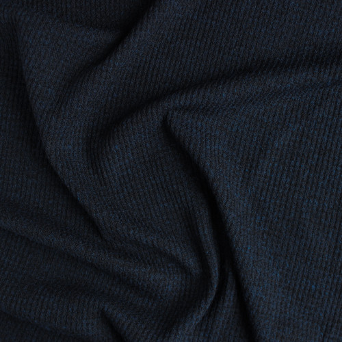 Waffle Sweater Knit - Heather Navy | Blackbird Fabrics
