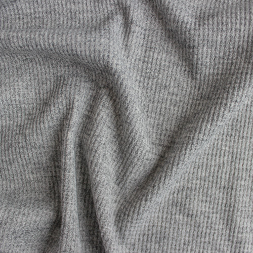 Waffle Sweater Knit - Light Heather Grey | Blackbird Fabrics