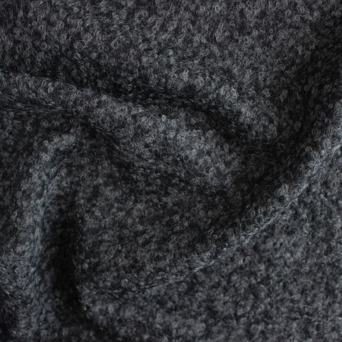 Wool Blend Boucle Coating - Charcoal Grey | Blackbird Fabrics