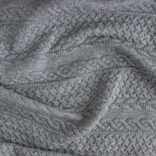 Cable Quilted Knit - Heather Grey | Blackbird Fabrics