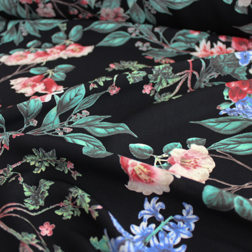 Floral Polyester Crepe - Black/Coral - 1/2 meter