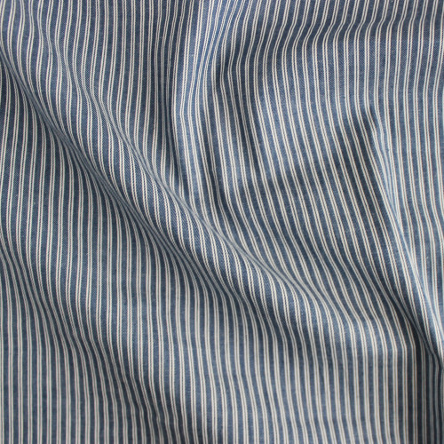 Ticking Stripe Cotton Denim Shirting - Medium Wash | Blackbird Fabrics
