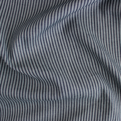 Ticking Stripe Cotton Denim Shirting - Dark Wash | Blackbird Fabrics