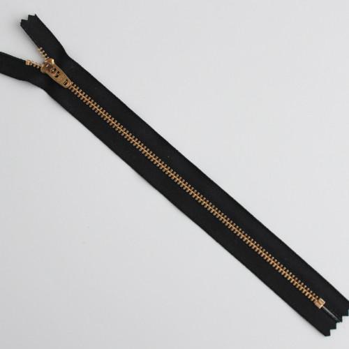 Jeans Zipper - Black with Brass | Blackbird Fabrics
