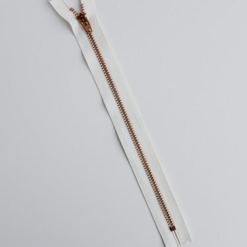 Jeans Zipper - Natural with Brass | Blackbird Fabrics
