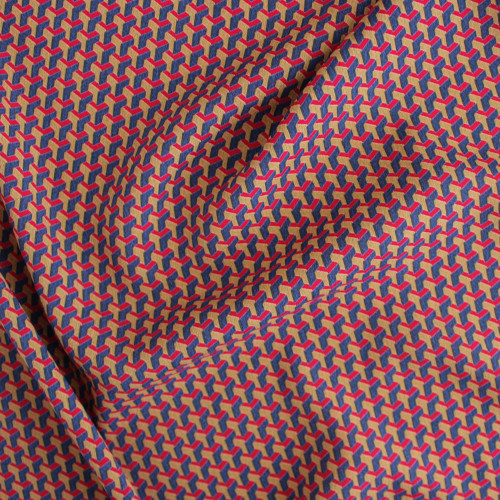 Geometric Rayon Crepe - Red/Navy/Gold | Blackbird Fabrics