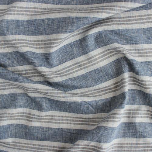 Hemp & Organic Cotton Multi Stripe - Denim Blue   Blackbird Fabrics