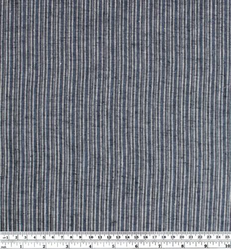 Hemp & Organic Cotton Mini Stripe - Denim Blue | Blackbird Fabrics