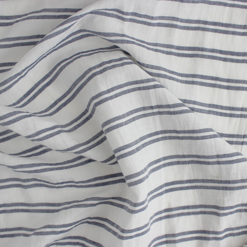 Double Stripe Linen Rayon - White/Blue | Blackbird Fabrics