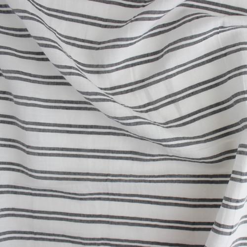 Double Stripe Linen Rayon - White/Charcoal | Blackbird Fabrics