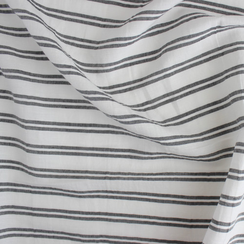 Double Stripe Linen Rayon - White/Charcoal | Blackbird Fabrics