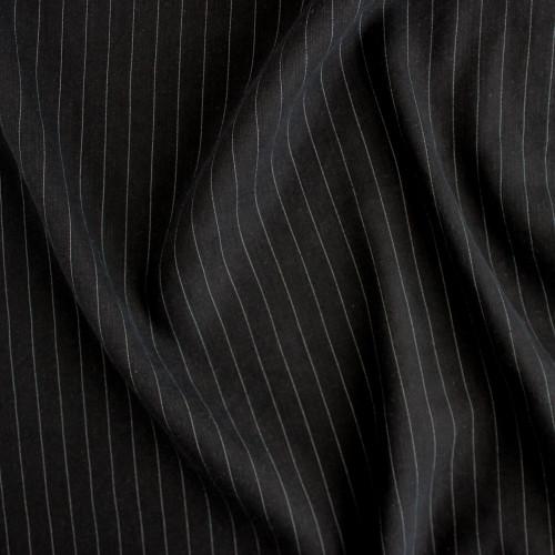 Linen & Tencel Pinstripe - Black | Blackbird Fabrics