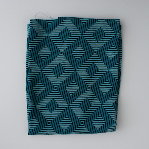 Remnant - 65cm - Diamonds Rayon Crepe - Turquoise/Black