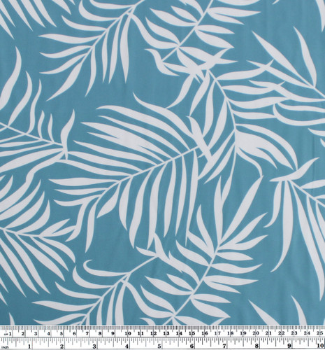 Palm Leaves Nylon Swim Tricot - Blue/White | Blackbird Fabrics