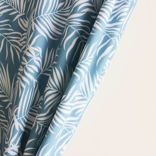 Palm Leaves Nylon Swim Tricot - Blue/White - 1/2 meter