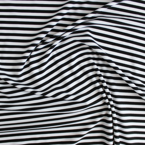 Striped Nylon Swim Tricot - Black/White | Blackbird Fabrics