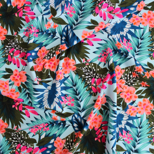Tropical Nylon Swim Tricot - Blue/Pink | Blackbird Fabrics
