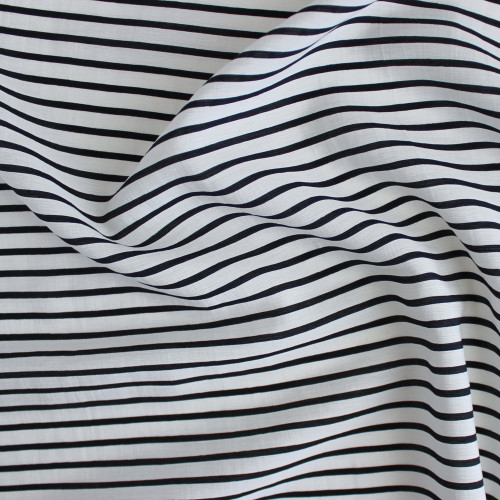 Washed Rayon Blend Stripe - White/Black | Blackbird Fabrics