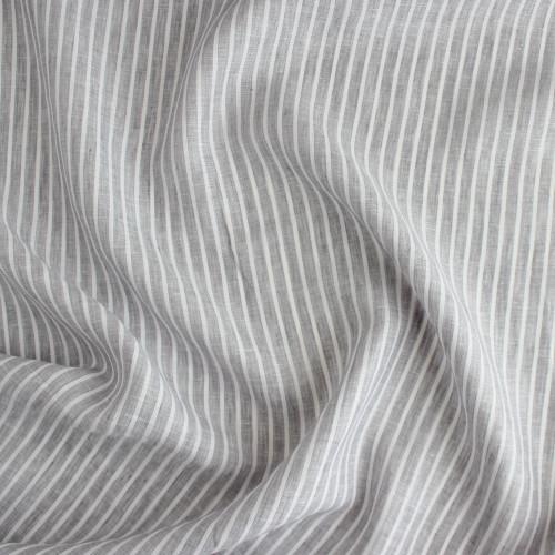 Linen Pinstripe - Pale Grey/White | Blackbird Fabrics