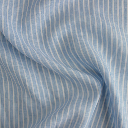 Linen Pinstripe - Pale Blue/White | Blackbird Fabrics