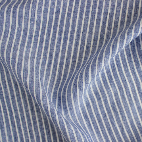 Linen Pinstripe - Royal Blue/White | Blackbird Fabrics
