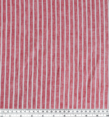 Linen Pinstripe - Red/White | Blackbird Fabrics