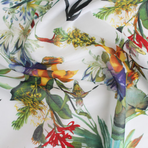Tropical Floral Cotton & Silk Voile - White/Multicolour | Blackbird Fabrics