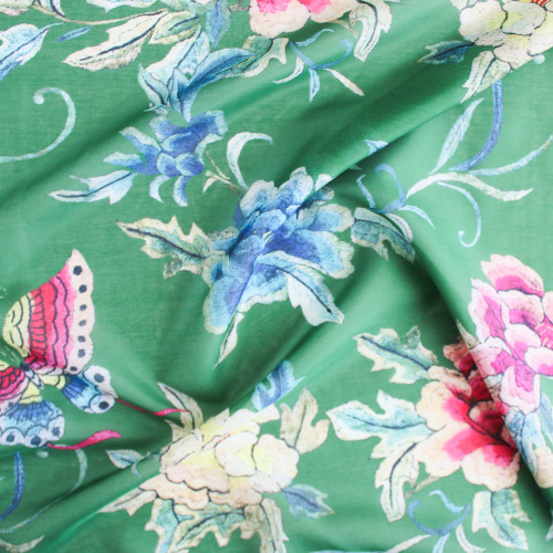 Floral Cotton & Silk Voile - Jade | Blackbird Fabrics