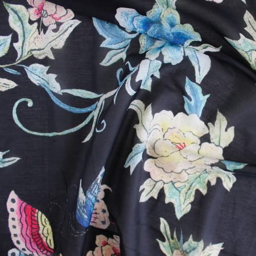 Floral Cotton & Silk Voile - Black | Blackbird Fabrics