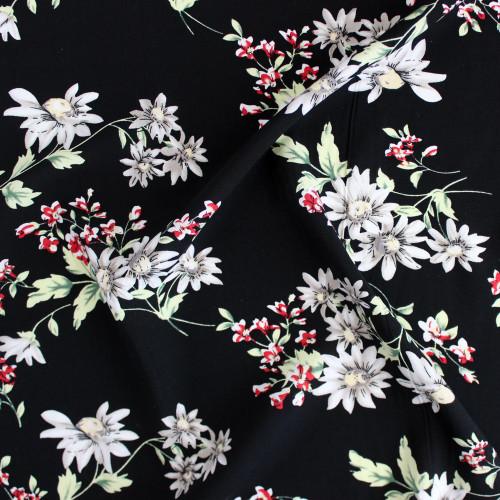 Floral Lightweight Viscose Poplin - Black | Blackbird Fabrics