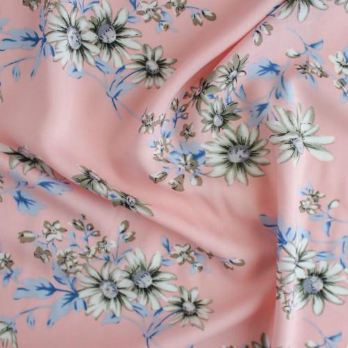 Floral Lightweight Viscose Poplin - Pale Pink | Blackbird Fabrics