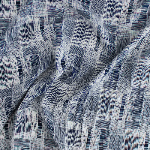 Criss Cross Lightweight Viscose Poplin - Navy/White | Blackbird Fabrics