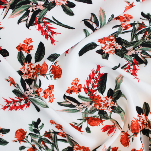 Floral Viscose Poplin - White/Orange | Blackbird Fabrics