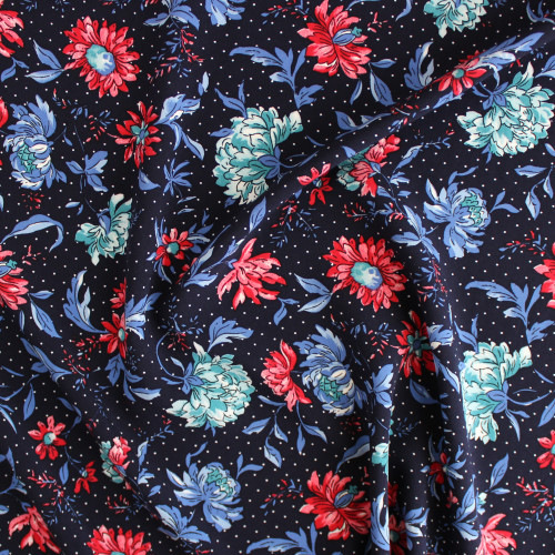 Flowers & Dots Viscose Poplin - Navy | Blackbird Fabrics